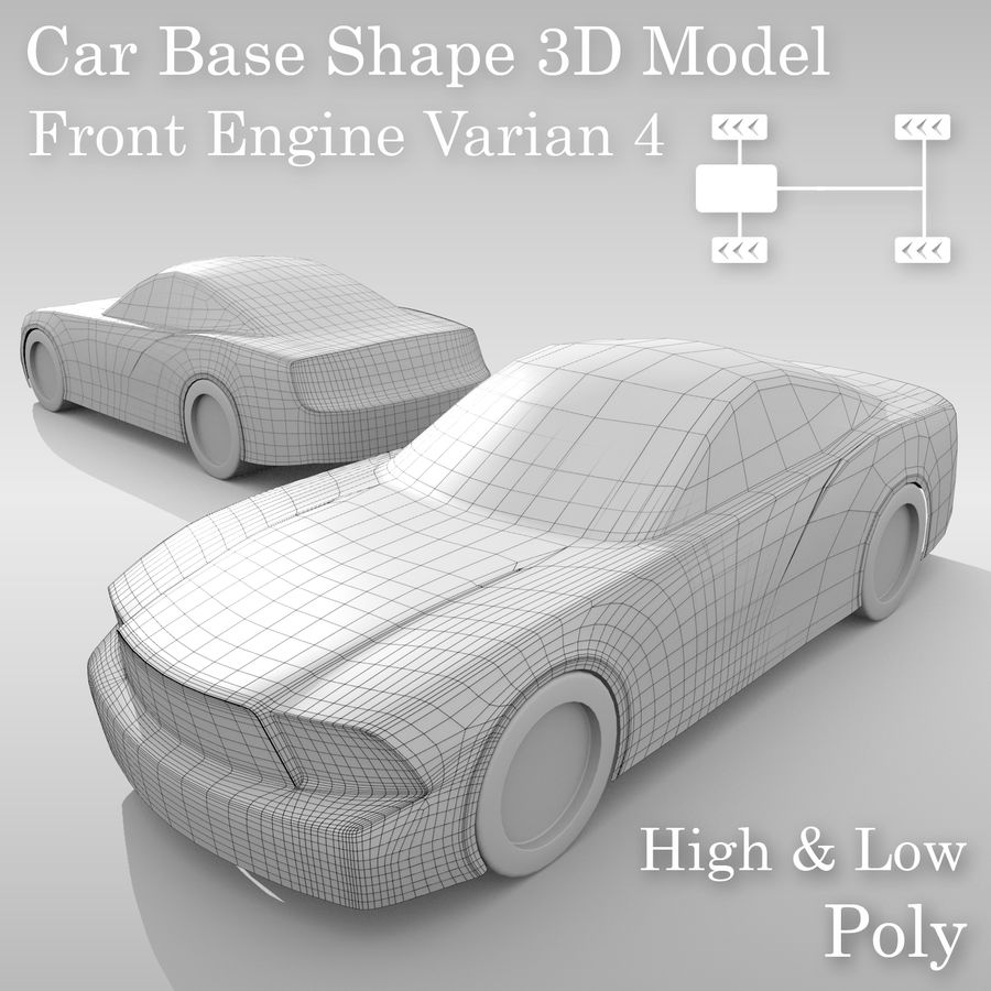 Car Base FR Layout Variant 4 royalty-free 3d model - Preview no. 1