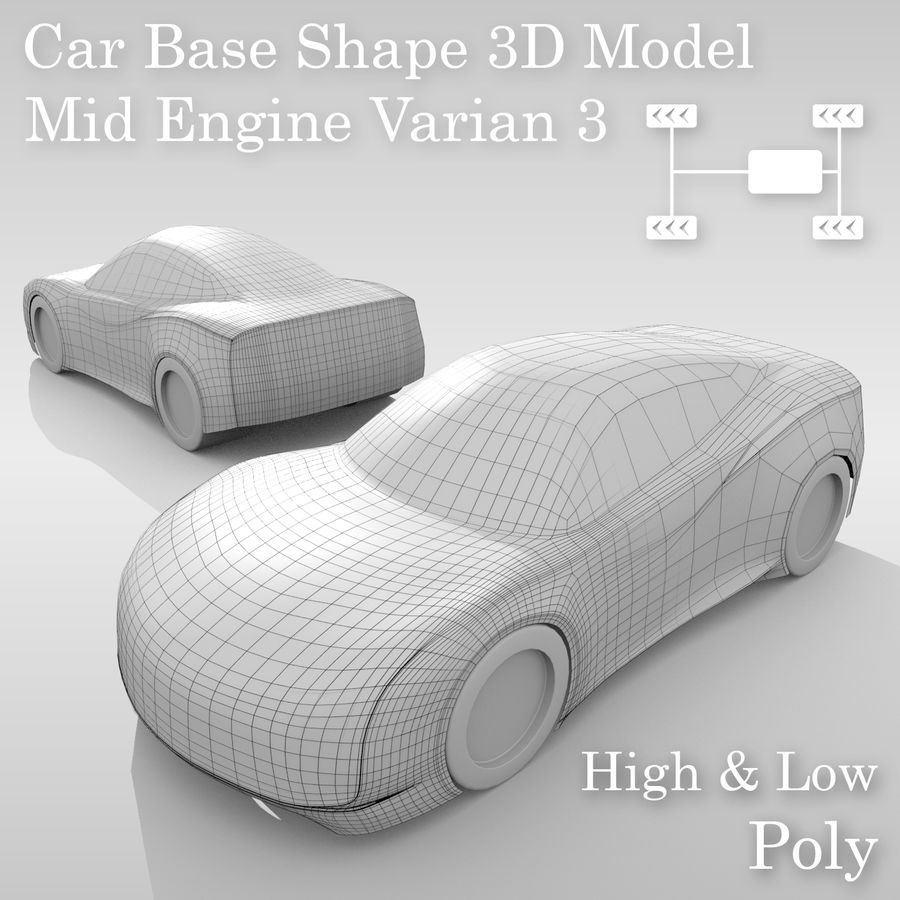 Car Base MR Layout Variant 3 royalty-free 3d model - Preview no. 1