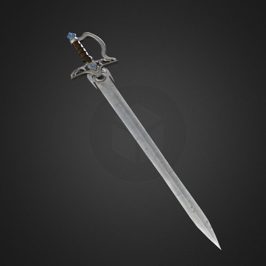 Fantasy Sword with Cristal (Game Ready) royalty-free 3d model - Preview no. 3