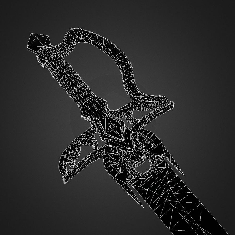 Fantasy Sword with Cristal (Game Ready) royalty-free 3d model - Preview no. 6