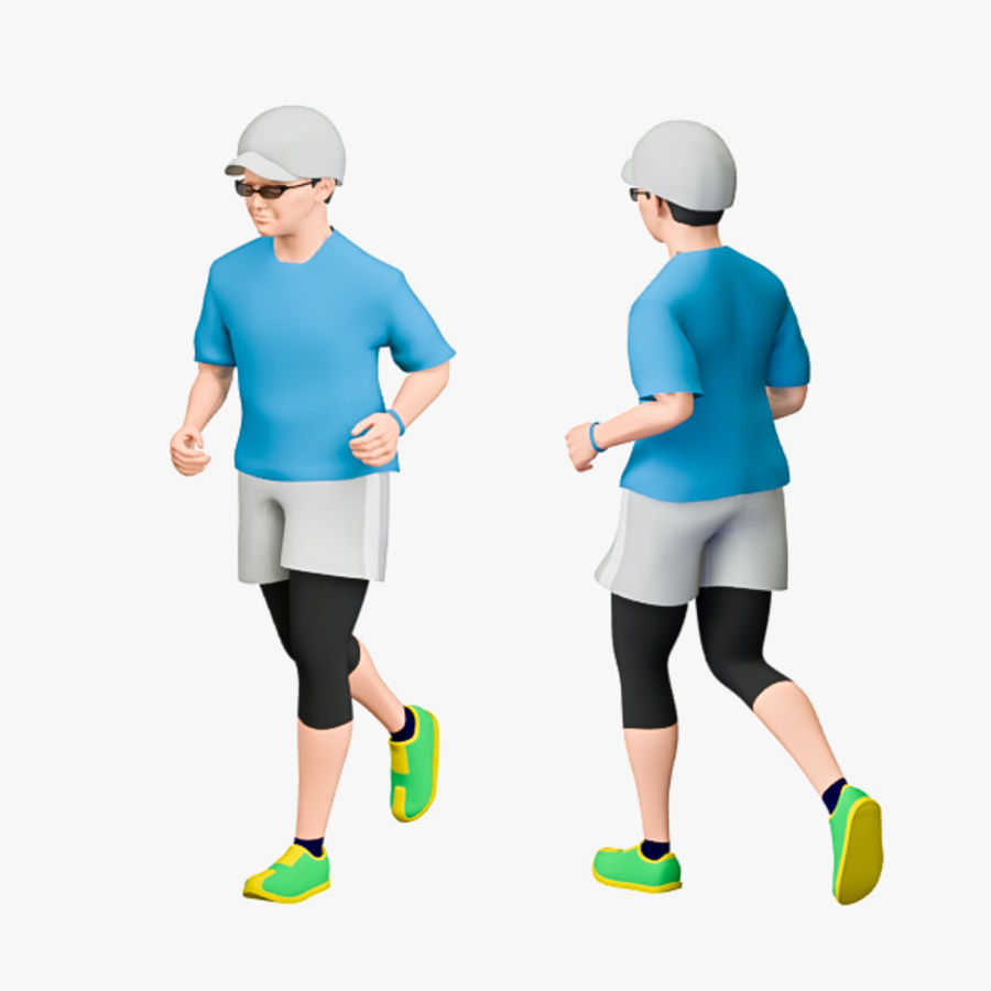 Sports People 01(Runner) royalty-free 3d model - Preview no. 7