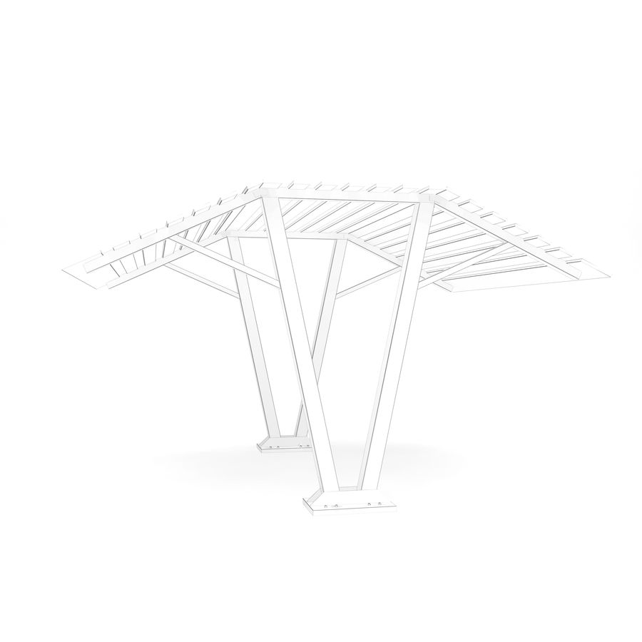 Ahşap güneşlik royalty-free 3d model - Preview no. 8