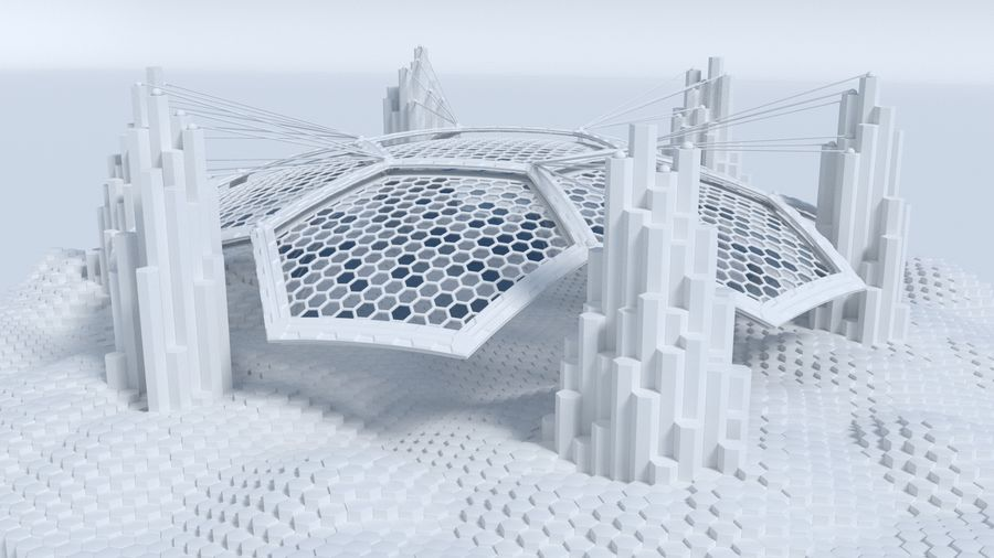 Hexagon shaped sci fi scene royalty-free 3d model - Preview no. 1