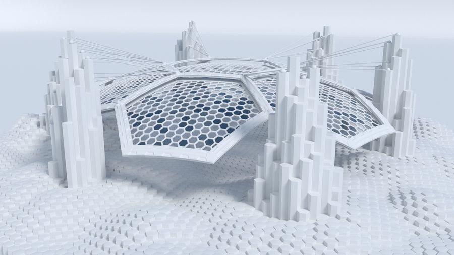 Scène de la science fiction en forme hexagonale royalty-free 3d model - Preview no. 1
