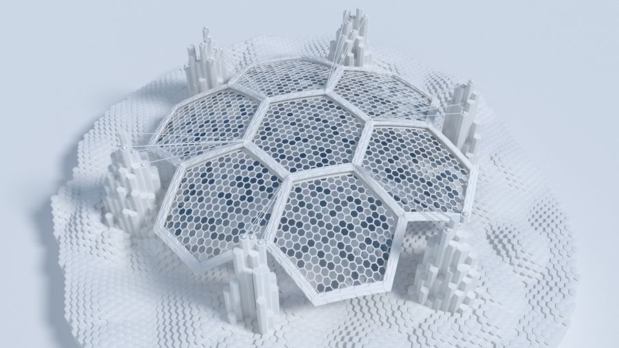 Hexagon shaped sci fi scene royalty-free 3d model - Preview no. 2
