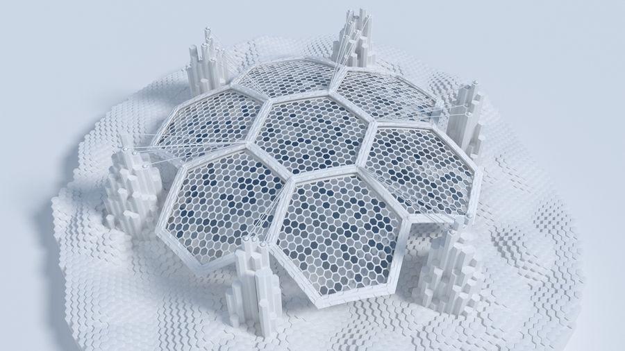 Scène de la science fiction en forme hexagonale royalty-free 3d model - Preview no. 2