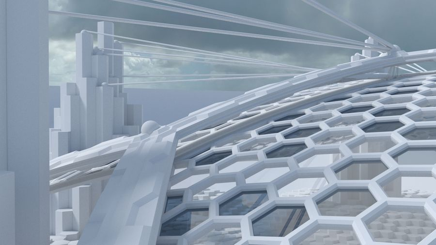 Hexagon shaped sci fi scene royalty-free 3d model - Preview no. 5