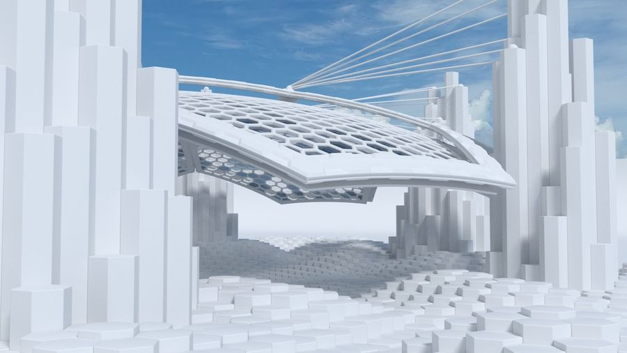 Scène de la science fiction en forme hexagonale royalty-free 3d model - Preview no. 3