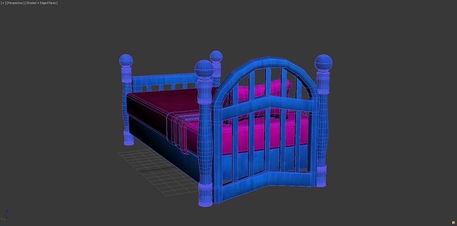 Cartoon bed royalty-free 3d model - Preview no. 8
