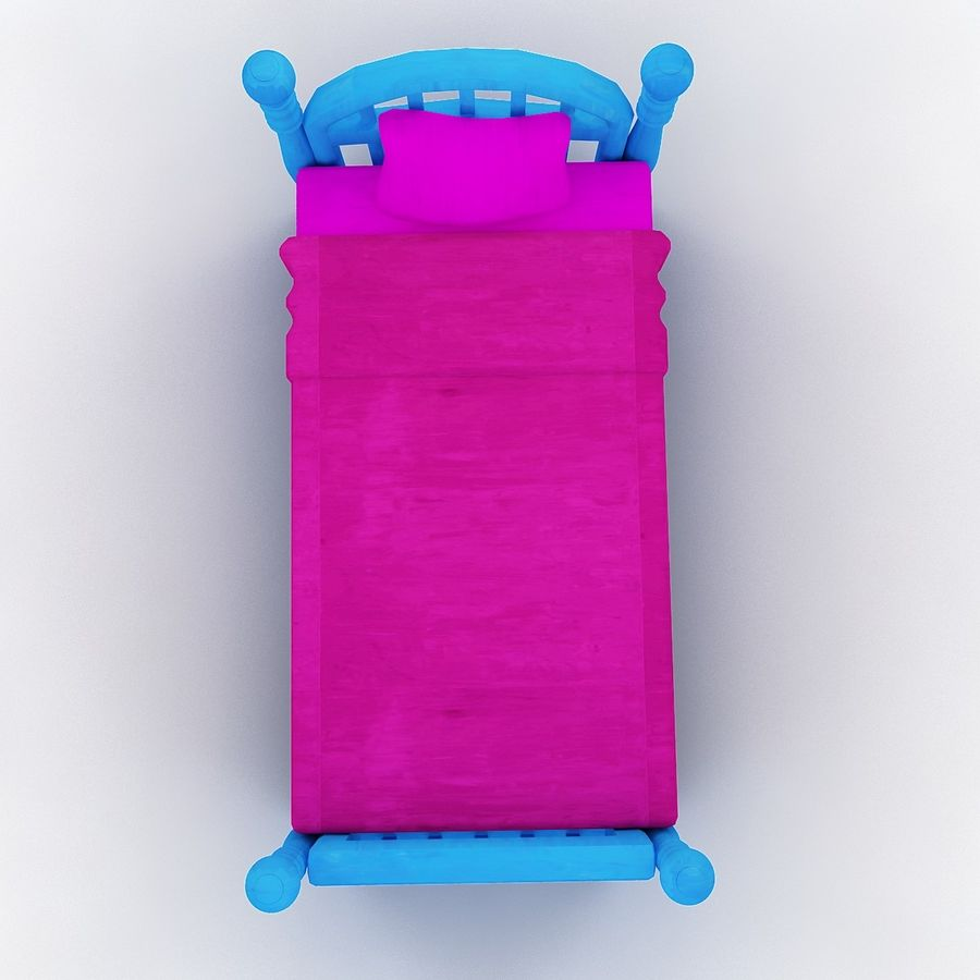 Cartoon bed royalty-free 3d model - Preview no. 4