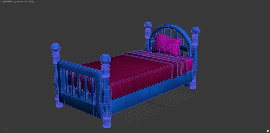 Cartoon bed royalty-free 3d model - Preview no. 7