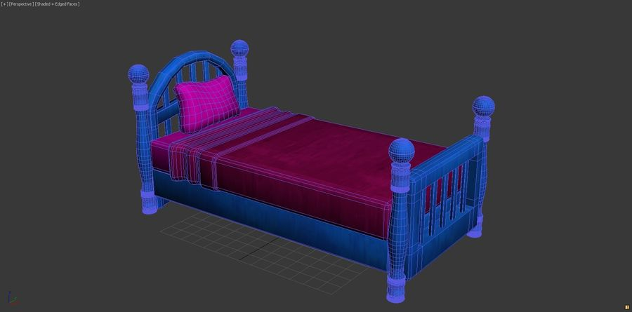 Cartoon bed royalty-free 3d model - Preview no. 6