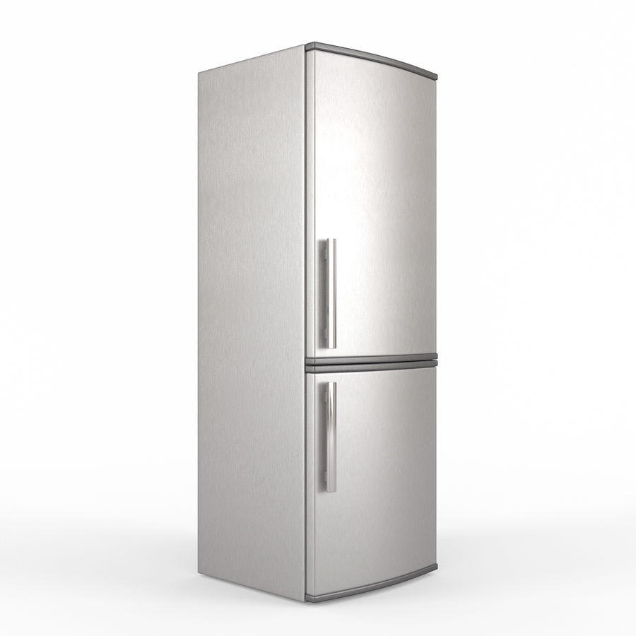 Modern Stainless Steel Fridge + Freezer royalty-free 3d model - Preview no. 1