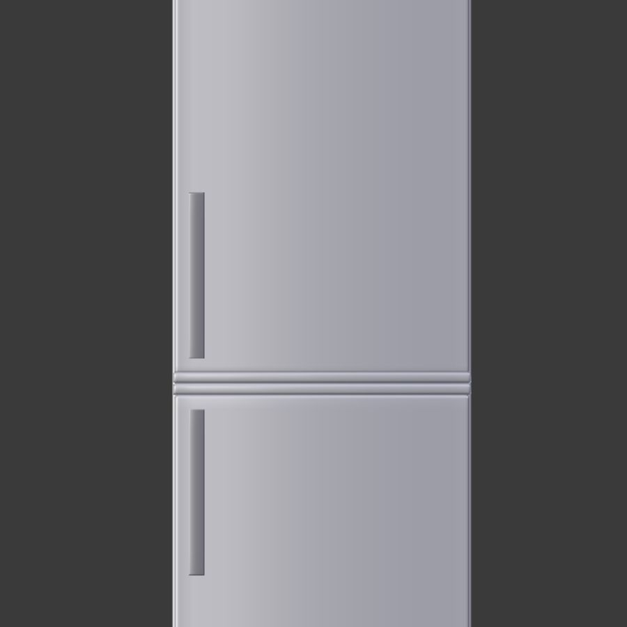 Modern Stainless Steel Fridge + Freezer royalty-free 3d model - Preview no. 3