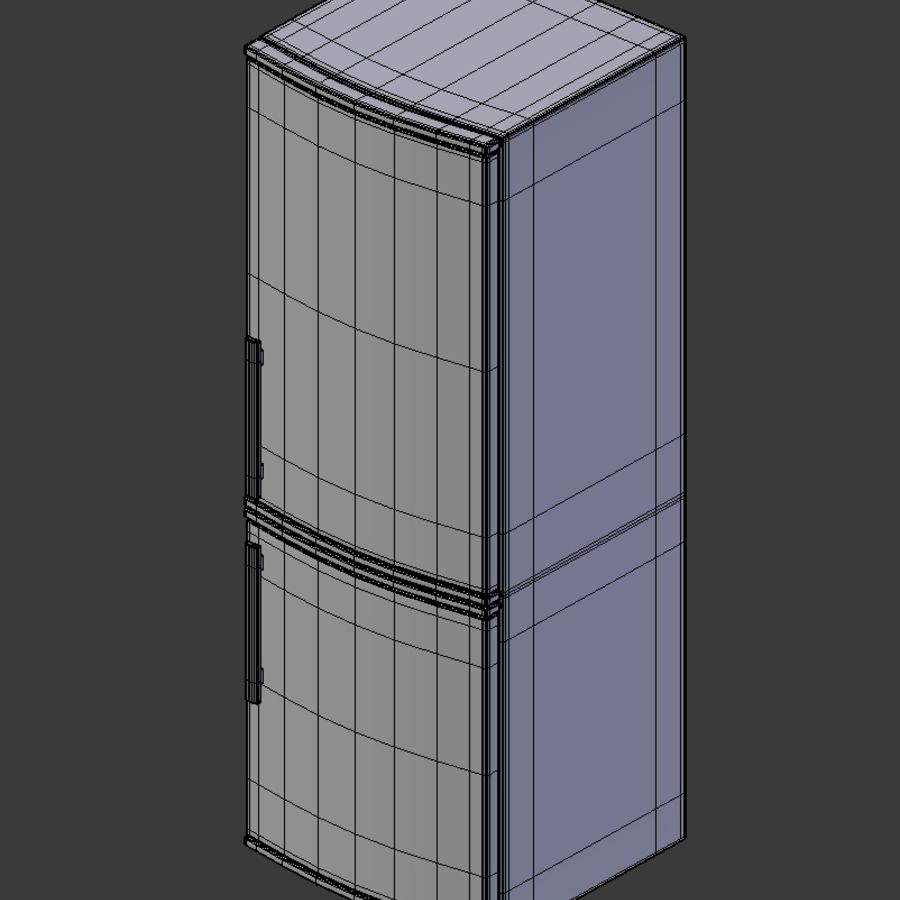 Modern Stainless Steel Fridge + Freezer royalty-free 3d model - Preview no. 6