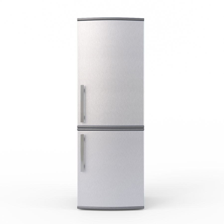 Modern Stainless Steel Fridge + Freezer royalty-free 3d model - Preview no. 2