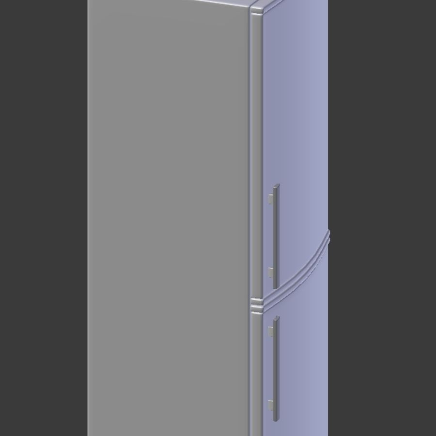 Modern Stainless Steel Fridge + Freezer royalty-free 3d model - Preview no. 5