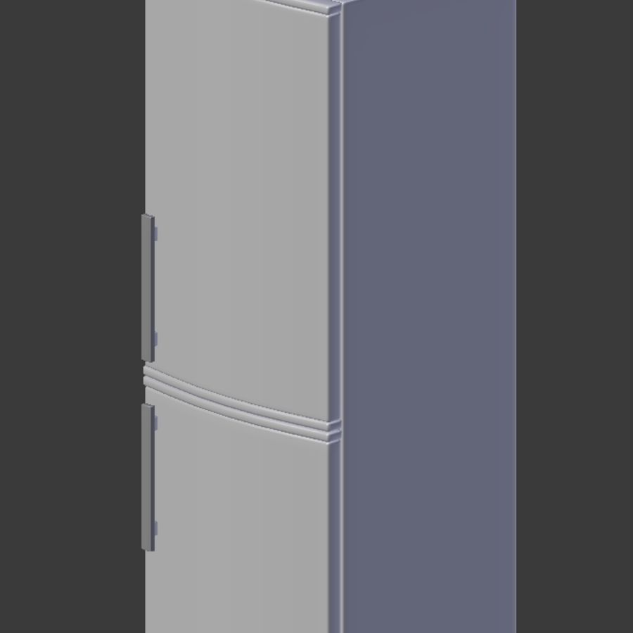 Modern Stainless Steel Fridge + Freezer royalty-free 3d model - Preview no. 4