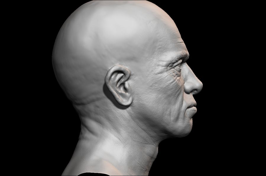 Высоко детализированное среднее мужское лицо с ультрафиолетом и низким поли royalty-free 3d model - Preview no. 4