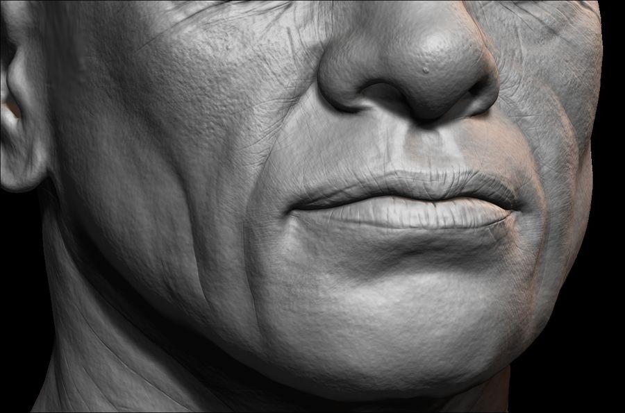 Высоко детализированное среднее мужское лицо с ультрафиолетом и низким поли royalty-free 3d model - Preview no. 5