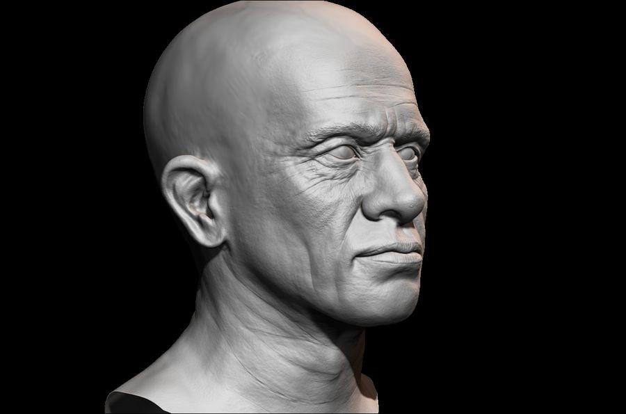 Высоко детализированное среднее мужское лицо с ультрафиолетом и низким поли royalty-free 3d model - Preview no. 3