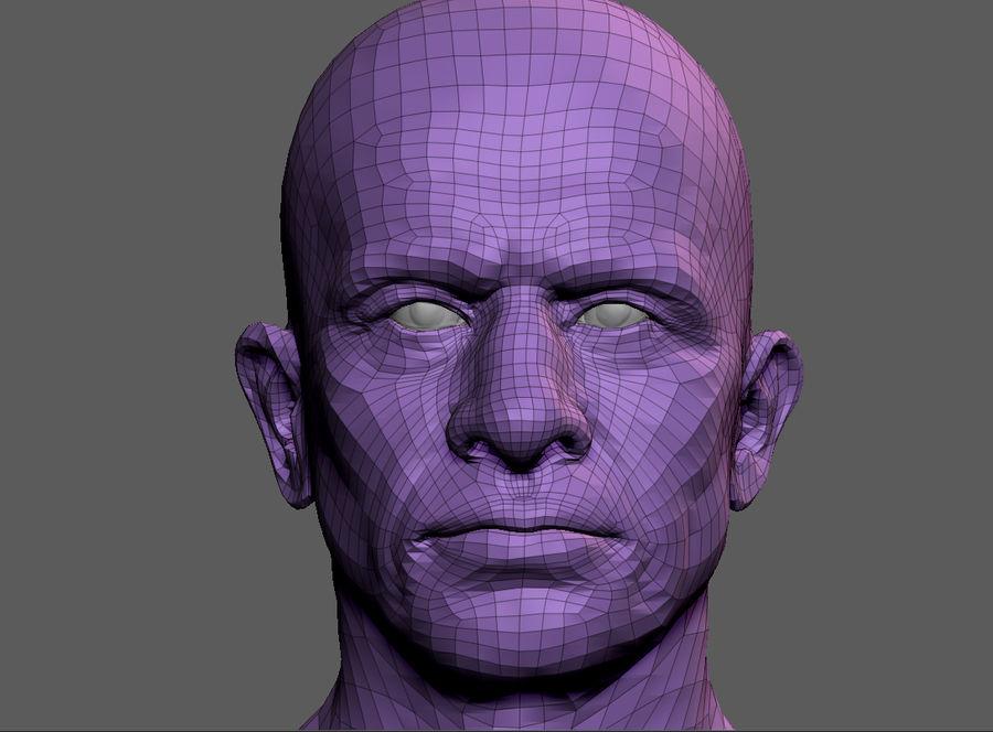 Высоко детализированное среднее мужское лицо с ультрафиолетом и низким поли royalty-free 3d model - Preview no. 7