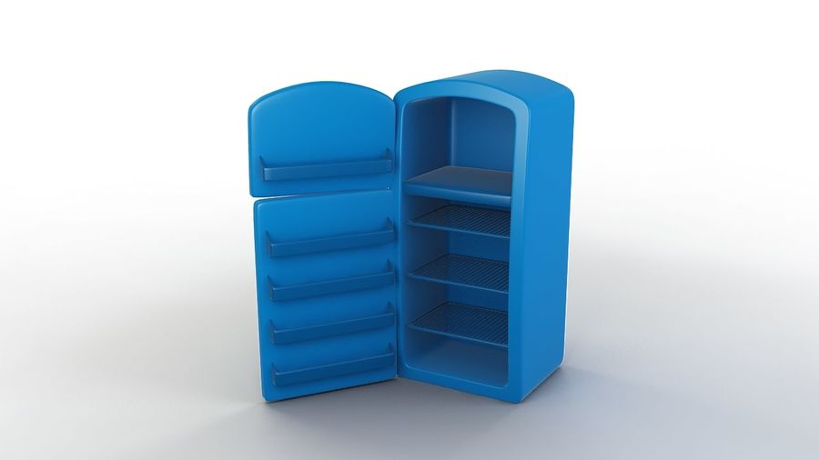 Cartoon Refrigerator royalty-free 3d model - Preview no. 2