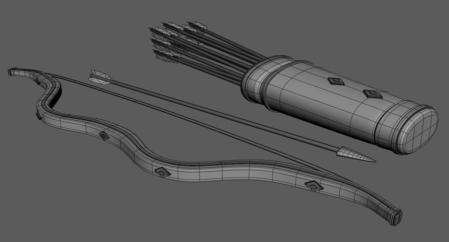 Medieval Bow and Arrow royalty-free 3d model - Preview no. 8