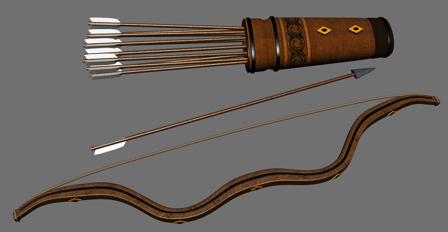 Medieval Bow and Arrow royalty-free 3d model - Preview no. 2