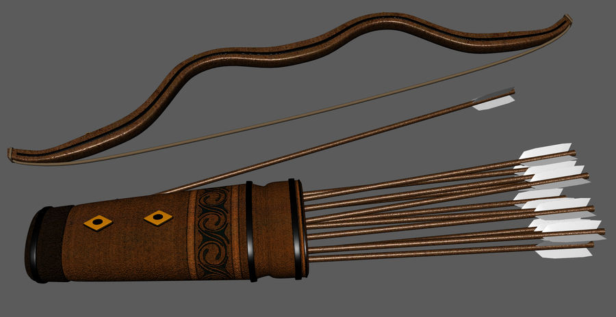 Medieval Bow and Arrow royalty-free 3d model - Preview no. 4