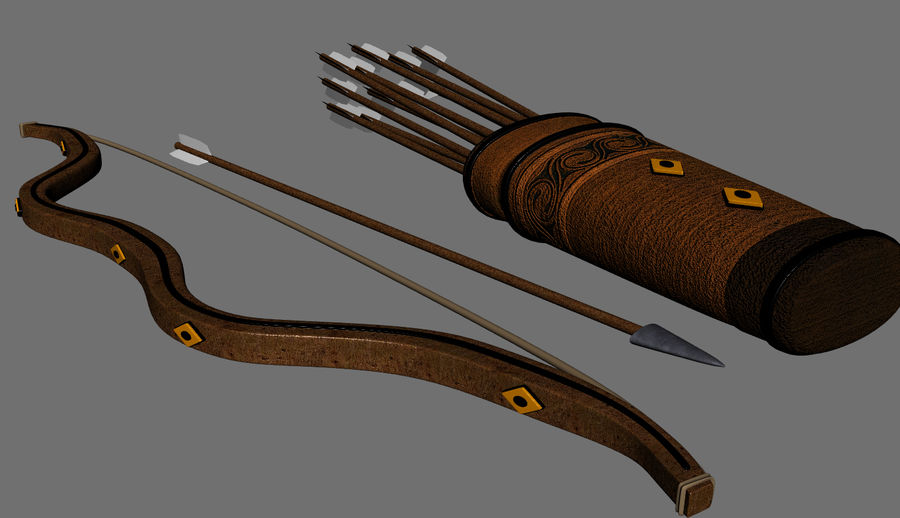 Medieval Bow and Arrow royalty-free 3d model - Preview no. 3