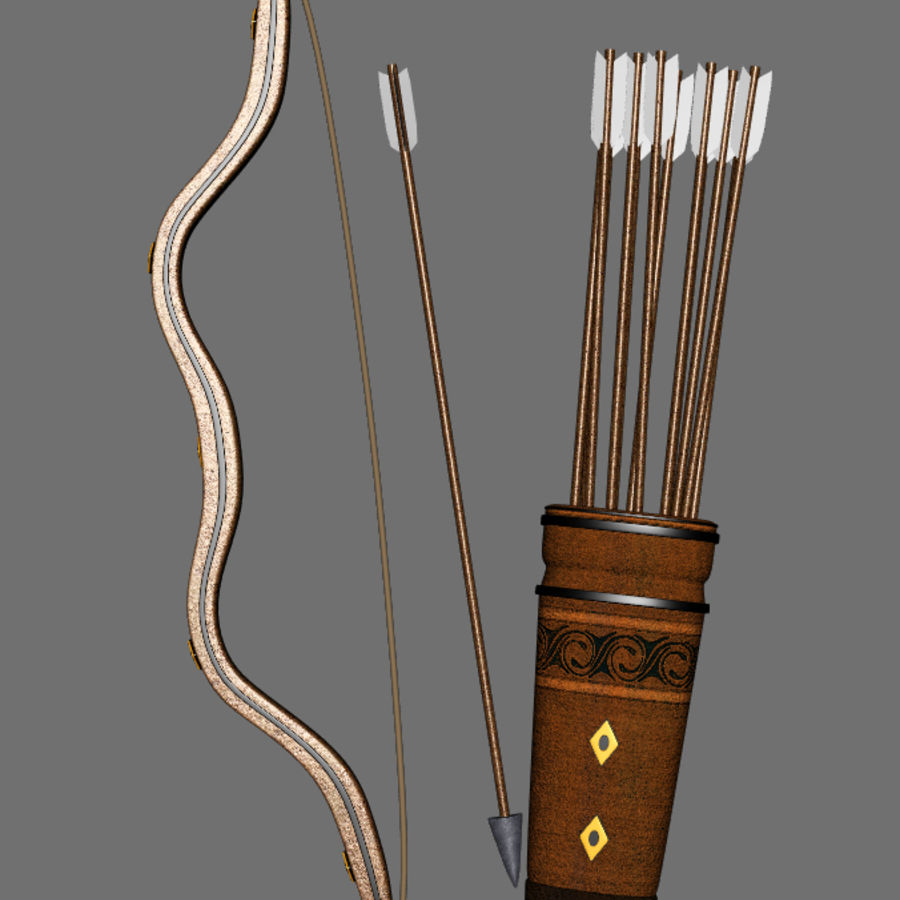 Medieval Bow and Arrow royalty-free 3d model - Preview no. 5
