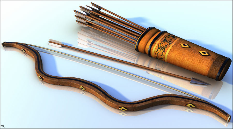 Medieval Bow and Arrow royalty-free 3d model - Preview no. 1