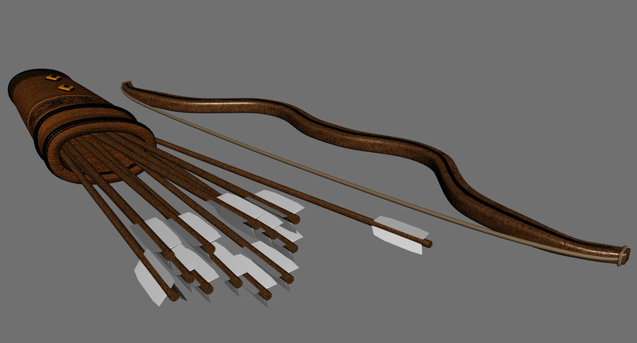 Medieval Bow and Arrow royalty-free 3d model - Preview no. 6