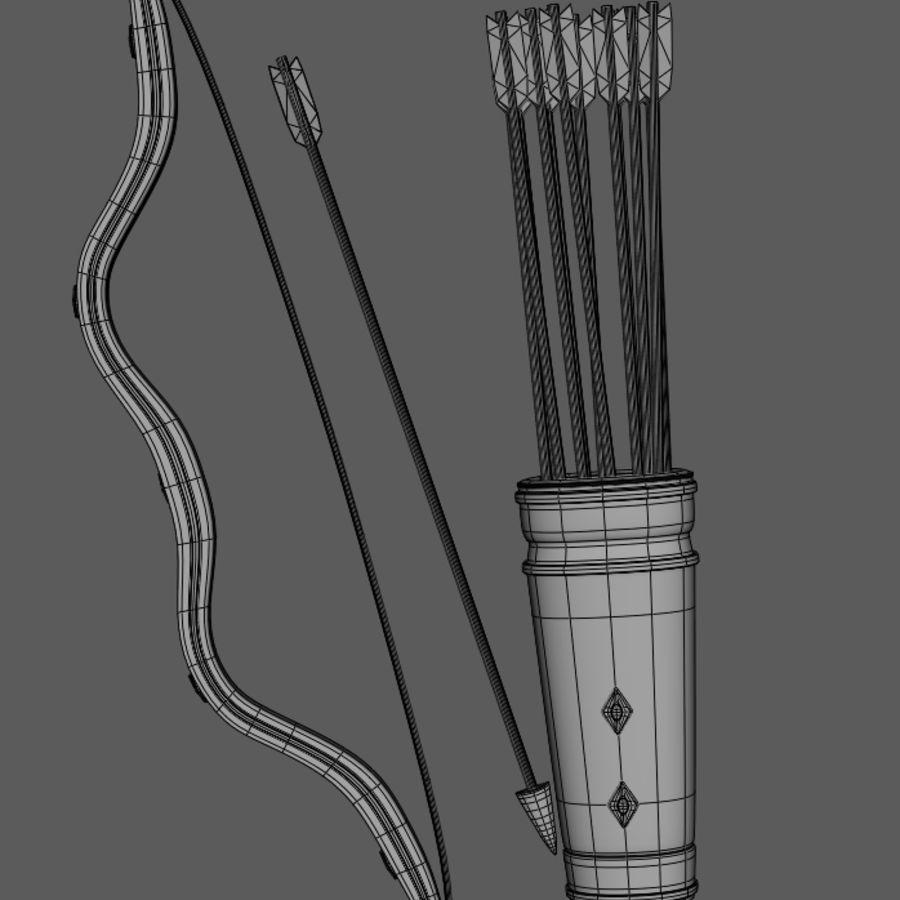 Medieval Bow and Arrow royalty-free 3d model - Preview no. 9