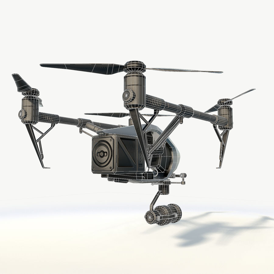 DJI Inspire 2.0 quadcopter low poly royalty-free 3d model - Preview no. 7