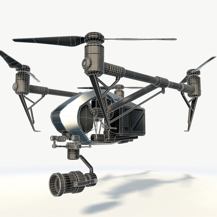 DJI Inspire 2.0 quadcopter low poly royalty-free 3d model - Preview no. 11