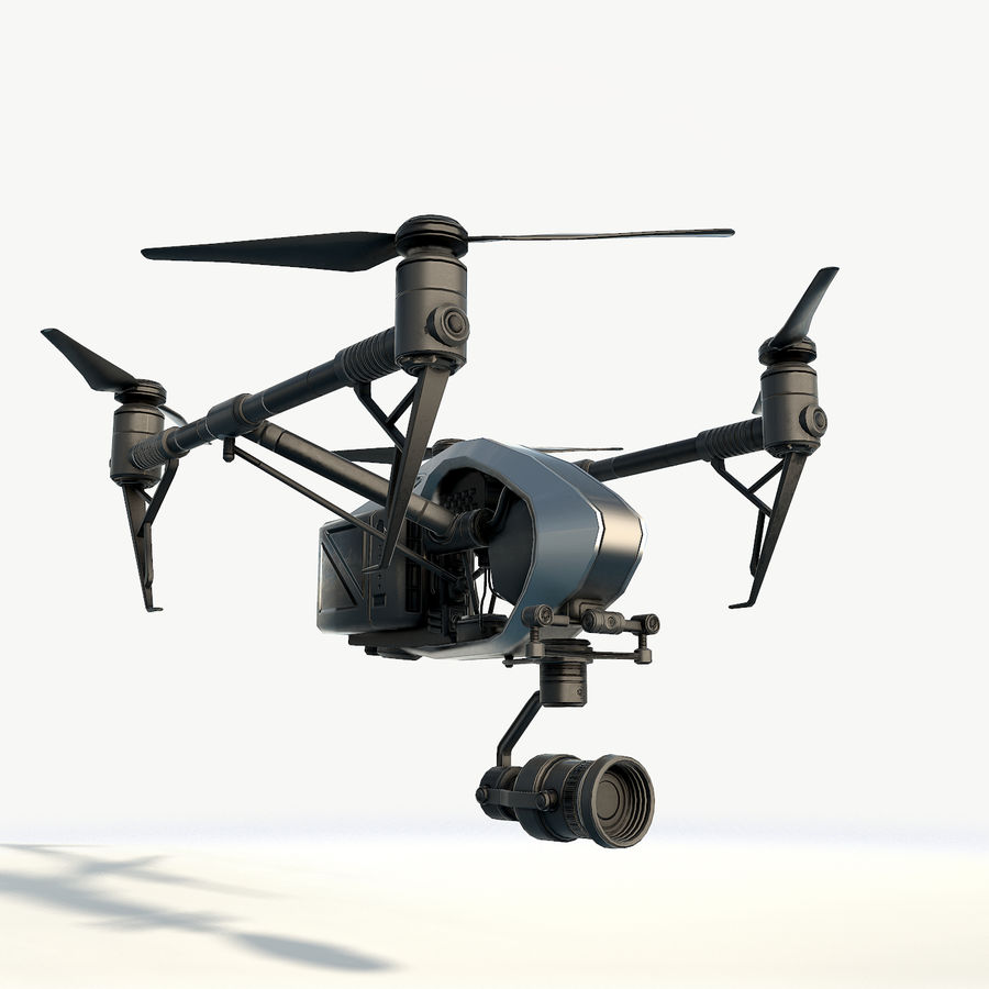 DJI Inspire 2.0 quadcopter low poly royalty-free 3d model - Preview no. 4