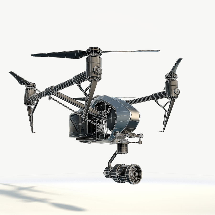 DJI Inspire 2.0 quadcopter low poly royalty-free 3d model - Preview no. 5