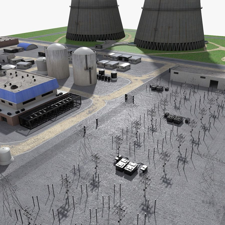Watts Bar Nuclear Plant royalty-free 3d model - Preview no. 7