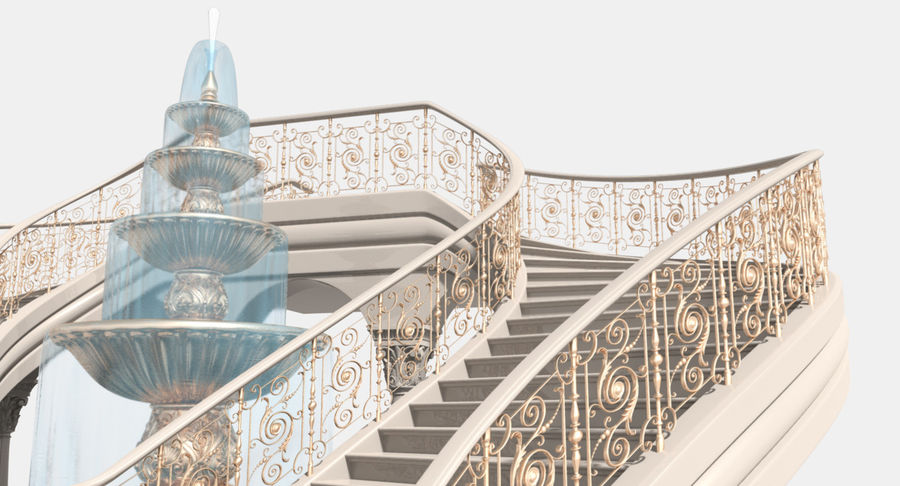 楼梯X3 royalty-free 3d model - Preview no. 6