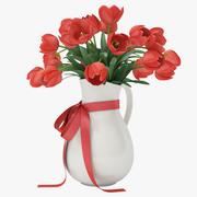赤いチューリップの花瓶 3d model
