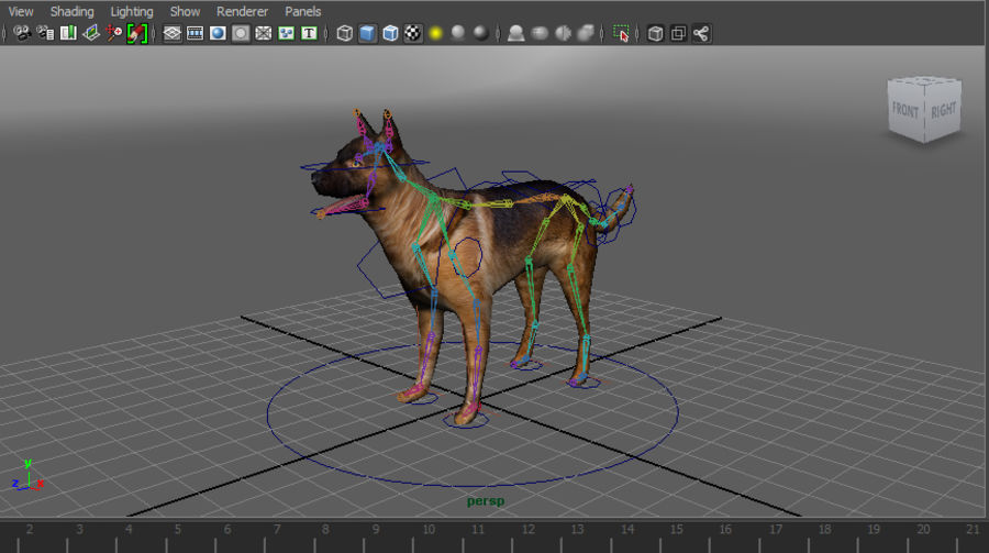 german shepherd dog rigged royalty-free 3d model - Preview no. 18