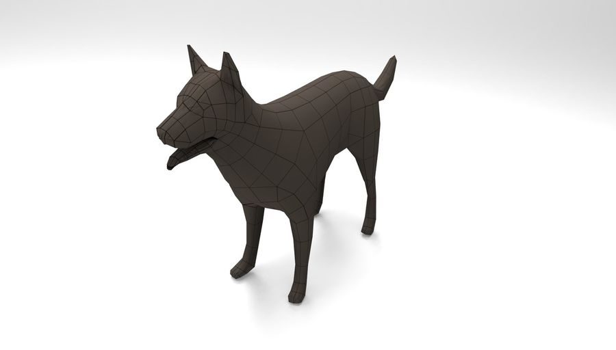 german shepherd dog rigged royalty-free 3d model - Preview no. 21