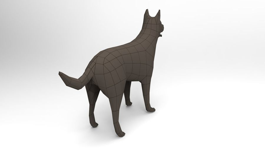 german shepherd dog rigged royalty-free 3d model - Preview no. 20