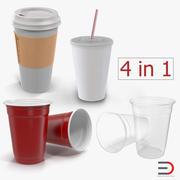 Collection de tasses jetables 3d model