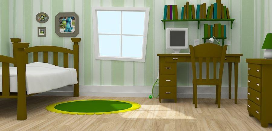 Quarto dos desenhos animados royalty-free 3d model - Preview no. 1