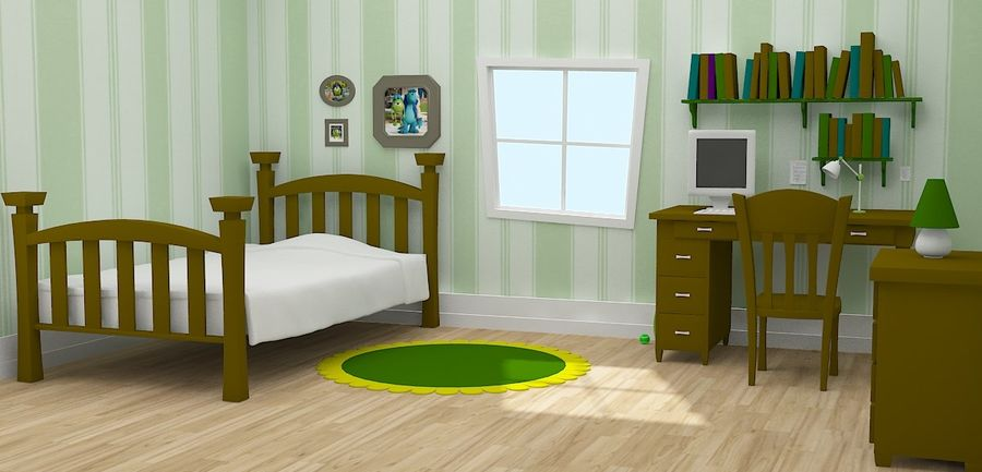 Cartoon Room royalty-free 3d model - Preview no. 3