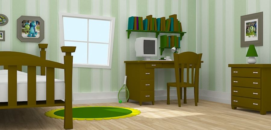 Cartoon Room royalty-free 3d model - Preview no. 2