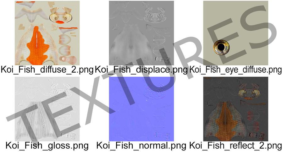 Harivake Koi Fish Swiming Pose royalty-free 3d model - Preview no. 18